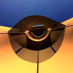 Eye opener (Arni J.M.) Tags: architecture building wall metal sky eyeopener shadow curve up mesh schoolofbiologicalsciences bristol england uk