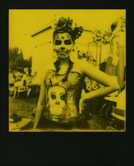 Yellow Muertos Maiden (tobysx70) Tags: the impossible project tip polaroid slr680 frankenroid sx70 door rollers red black blackandred duochrome film for 600 type cameras instant blackframe impossaroid yellow maiden dia de los muertos celebration hollywood forever cemetery santa monica blvd boulevard angeles la california ca portrait woman girl lady skull makeup route rte rt 66 digitally manipulated toby hancock photography