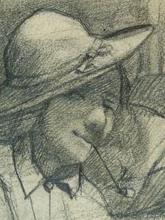 COURBET Gustave - Main, Figures en buste et Figures dans la Campagne, Etudes (drawing, dessin, disegno-Louvre RF29234.22) - Detail 52