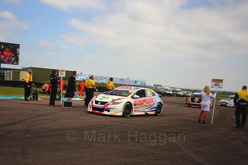 Matt Simpson on the grid at the Thruxton BTCC round, May 2017