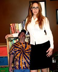 Parent-Teacher (iggy62pop2) Tags: giantess shrinkingman sexy upskirt minigiantess milf miniskirt tallwoman tiedye babe breasts glasses comparison funny female woman redhead