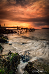 The Waters Edge (D.K.o.w) Tags: holywood sunset craigantlethills belfastlough northernirelandlandscape kinnegarjetty wave tide canon7dmkii longexposure leelittlestopper