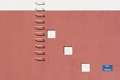 Calle Venezuela (on Explore) (Jan van der Wolf) Tags: map1681ve ladder trap stairs wall muur facade shadow schaduw white pink wit rose composition compositie grancanaria streetname straatnaambord
