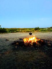 Camp Mojave Campfire (simbajak) Tags: mojave desert camp campfire weber bbq smokey joe california firepit explored