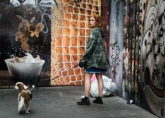 Untitled (XBeauPhoto) Tags: dog dogwalker london londonstreets candid colours retro soho street streetart streetphoto streetphotography urban youngwoman girl lead