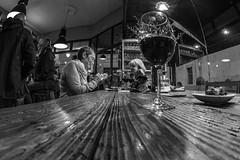 Vino tinto...... (Dafydd Penguin) Tags: wine bar booze vino tinto candid street vigo spain blackandwhite black white blackwhite bw monochrome pub city people nikon d610 nikkor 16mm af f28d fisheye