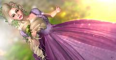 Rapunzel & Pascal (meriluu17) Tags: enchantment rapunzel pascal chameleon n nsp fairytale tangled animal tale surreal princess pink longhair blonde blondie cute flowers babyirl