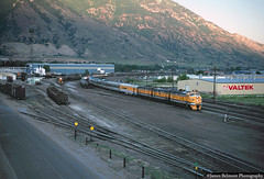 Twenty Five Minutes Late (jamesbelmont) Tags: railroad drgw f9a provo utah passenger streamliner yard universiteavenue locomotive sunset wasatch