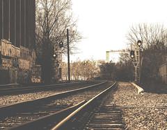 l'irrésistible appel (photosgabrielle) Tags: traintracks cheminfer photosgabrielle sepia monochrome montreal ville city