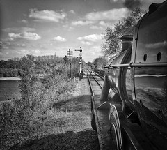 Great Central Railway Swithland Leicestershire 7th May 2017 (loose_grip_99) Tags: greatcentral railway railroad rail gcr gwr greatwestern train steam engine locomotive swithland viaduct reservoir leicestershire eastmidlands england uk modified hall 460 6990 witherslackhall preservation transportation blackwhite noiretblanc gassteam uksteam trains railways goods galore gala semaphore signals may 2017 footplate