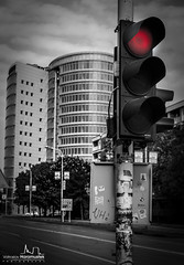 Traffic light says NO! :) (v.Haramustek) Tags: trafficlight red no blackandwhite moire osijek slavonija eurodom semafor croatia road city town