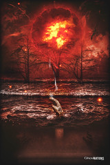 Blood Moon Rising (Ghost Of Nations Photography And Digital Art) Tags: ghostofnationsphotography ghostofnations gloomy gothic newgothic neogothic liminal digitalart digitalpainting dark disquiet disturbing water fire bloodmoon hand stone eerie creepy weird spooky scary casket coffin