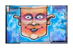 Street Art (Crey 1), East London, England. (Joseph O'Malley64) Tags: streetartists streetart urbanart publicart freeart graffiti eastlondon eastend london england uk britain british greatbritain art artists artistry artwork mural muralists shed doors doorways entrances exits woodenpanels tarpaulin padlocks padlocked bolt bolted woodwork urban urbanlandscape aerosol cans spray paint fujix accuracyprecision crey1