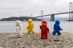 Exploration (#45) - SF Bay bridge (Ballou34) Tags: 2017 7dmark2 7dmarkii 7d2 7dii afol ballou34 canon canon7dmarkii canon7dii eos eos7dmarkii eos7d2 eos7dii flickr lego legographer legography minifigures photography stuckinplastic toy toyphotography toys sanfrancisco california étatsunis us 7d mark 2 ii eos7d stuck plastic space exploration red yellow white blue san francisco bay bridge island sea ocean water