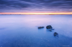 Into the Blue (Harold van den Berge) Tags: canon1635lf4 clouds haroldvandenberge landscape landschap leefilter longexposure lucht morninglight netherlands ochtendlicht outdoor rock rocks sky stenen sunrise walsoorden water westerschelde wolken zeekust zeeland zeeuwsvlaanderen zonsopkomst leaf luminositymask bigstopper