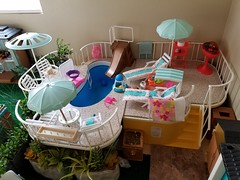 Pool and pool toys shed (moonpiedumplin) Tags: bbq party juicer pizza fun summer picnic steak hamburger littles patio outdoor doll ken redo custom 80s 1980 house dream backyard repaint pool spa barbie furniture mansion mattel diy courtyard yard porch lanai landscape grill cottage wicker gazebo 16 scale diorama outdoors frame ooak bar kitchen fire pit deck sun slide swim playset mcdonald