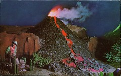 Volcano, Knott's Berry Farm, California (SwellMap) Tags: postcard vintage retro pc chrome 50s 60s sixties fifties roadside midcentury populuxe atomicage nostalgia americana advertising coldwar suburbia consumer babyboomer kitsch spaceage design style googie architecture waxmuseum effigy figurine