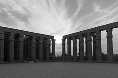 Sunset in Luxor Temple (Younis-001) Tags: luxor temple sunset bw pillars egypt ancient