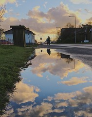 Sky's the limit (erlingraahede) Tags: poetry blue sky reflection puddle denmark holstebro