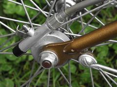 Speedo Drive (cycle.nut66) Tags: speedo drive speedometer cable huret fork ent bronze metallic 1970s nut wheel hub caliper fuji fujifilm s1800 raleigh block esquire