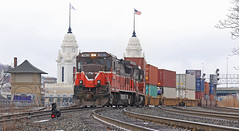 Day light stack move (GLC 392) Tags: pw providence worcester railroad railway train ge b398e b237s b237r super 7 wx1 tower union station dwarf signal stacks containers rare move 3903 2216 mass massachusetts rain