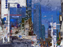 Urban Blue: Grid Diptych (Tim Noonan) Tags: manipulation postminimalism abstract photoart