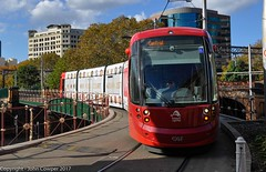 Sydney Light Rail - LRV2115 arrives at Central Railway. (john cowper) Tags: sydneylightrail centralrailwaystation urbos3 caf lrv2115 transportfornsw trams lightrailvehicle lightrail railwaystation heritage overbridge newsouthwales