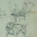 COURBET Gustave - Tente abritant des Tonneaux, Figure, Âne, Etudes (drawing, dessin, disegno-Louvre RF29234.8) - Detail 31