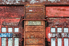 Trying To Maintain Focus And Progress Through The Struggle (DetroitDerek Photography ( ALL RIGHTS RESERVED )) Tags: allrightsreserved 313 detroit dearborn fire station abandoned closed decay dilapidated urbandecay urban door entrance 1895 2017 archive digital michigan midwest usa america nothdr blight bleak restaurant red brick motown motorcity detroitderek may canon rebel xs eos maintain focus struggle progress rusty crusty