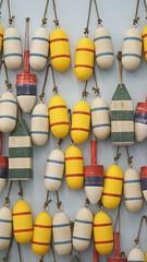 wood buoy display vertical (Lynn Friedman) Tags: traderjoes 104thst sanfrancisco ca 94103 4155367801