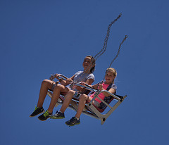 Freefalling (swong95765) Tags: kids girls seated freefall falling chains broken sky yikes omg ride bench seat thrill