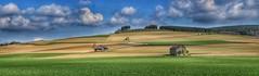 On the hillside.. (frankvanroon) Tags: hdr scenery nature sky clouds hills sauerland germany springtime light farmland farm landscape grass green barns barn meadow nikon d7000 panorama