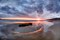 Heaven sitting down (pauldunn52) Tags: sunset southerndown beach glamorgan heritage coast wales rock pool wet sand reflections clouds cliffs