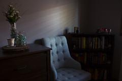 Bedroom Interior - Evening (Christie Purchase) Tags: canon blue dresser chair interiors naturallight windowlight sunlight sun bookshelf books furniture bedroom interiordesign interior