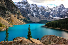 Cloudy Moraine Lake (louelke - recovering from surgery) Tags: morainelake banffnationalpark canada cloudy mountains lake glaciers