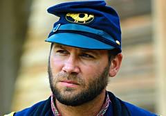 Union Civil War Reenactor at Lincoln Log Cabin -- Explored 5/12/17 (forestforthetress) Tags: civilwarreenactor reenactor man outdoor color omot nikon face portrait lincolnlogcabin lincolnlogcabinfallfrolic uniform