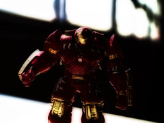 Hulkbuster in Shadows (MarkRosauer) Tags: hulkbuster ironman marvel tomikatoys macro tonystark castmetal aluminiumtoys