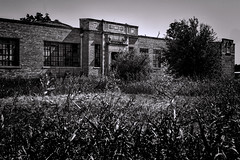 Sharp School (Scott Sanford) Tags: 6d abandoned classic ef2470f28l eos ghosttown hillcountry naturallight summer texas topazlabs vintage weathered historic moody blackandwhite monochrome bw silver contrast grain forgotten