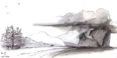 Lord Howe Island Mt Gower - from memory (panda1.grafix) Tags: lordhoweisland seascape blackandwhitesketch clouds