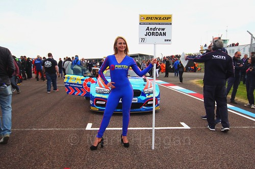 Andrew Jordan on the grid during the Thruxton BTCC round, May 2017