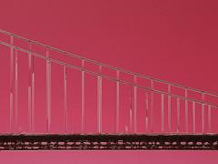 """The """"Golden"""" Gate (Steve Taylor (Photography)) Tags: art digital bridge black pink white monocolour monocolor monochrome metal lines outline goldengate sanfrancisco usa cable"""