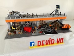 My Diorama adapted for the exhibition​ with the new bridge (Devid VII) Tags: devidvii devid vii mecha robot military diorama abrams hummer humvee war minifig minifigs details lego moc bridge container drone drones
