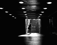 Going Underground (floressas.desesseintes) Tags: berlin pankow ubahnhofvinetastrase ubahn underground tube bahnhof station frau woman jungefrau youngwoman licht schatten light shadow kontrast contrasts streetfotografie schwarzweis gegenlicht backlit contrejour