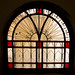 A stained glass window in the annexe guesthouse from the Palmyra hotel, Beqaa Governorate, Baalbek, Lebanon