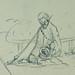 COURBET Gustave - Tente abritant des Tonneaux, Figure, Âne, Etudes (drawing, dessin, disegno-Louvre RF29234.8) - Detail 39
