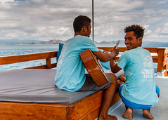 The Life Aquatic (Mario Lameiras) Tags: komodo boat music scuba amalia sea indonesia indo diving liveaboard blue guitar song chill boardshorts flores