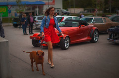 a dog, a girl and a Prowler (try...error) Tags: red dress pretty woman cute dog chrysler canon 150 50 5 5d