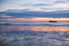 Low tide (shenamt) Tags: ocean mer lehavre boat ship cargo sunset reflection lowpov pastel tide lowtide week202017 52weeksthe2017edition weekstartingsundaymay142017