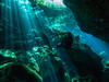 Diving in the Shadows of the Blues (altsaint) Tags: 714mm chacmool gf1 mexico panasonic cavern caverndiving cenote scuba underwater