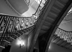Nelson stair (V Photography and Art) Tags: staircase stairs blackandwhite bw mono building interior railing stone london somersethouse wide fujixt1 14mm